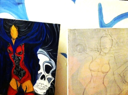 Paintings 1-3 in progress.